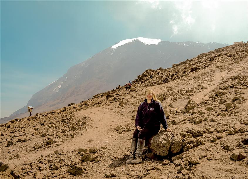 deb denis on her way up kilimanjaro